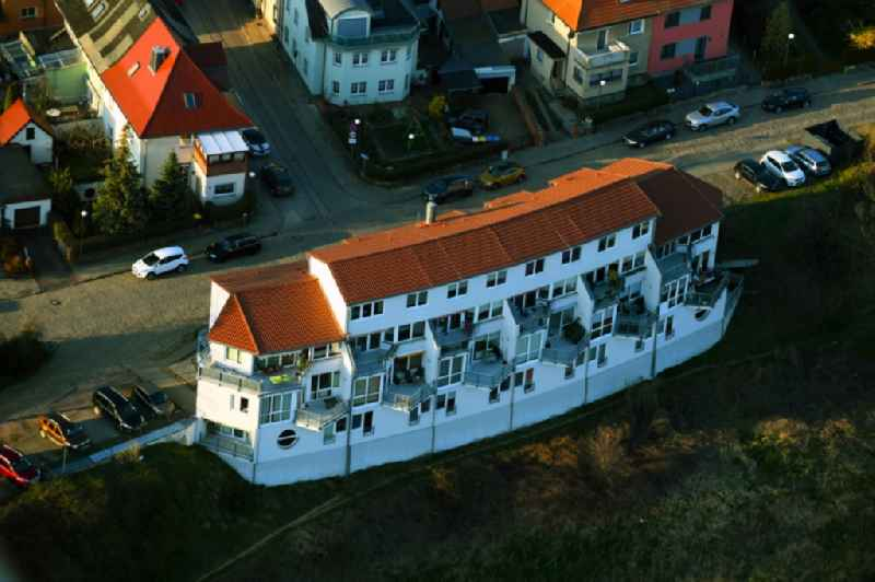 Building of a multi-family residential building on Elbstrasse in the district Woerlitz in Coswig (Anhalt) in the state Saxony-Anhalt, Germany