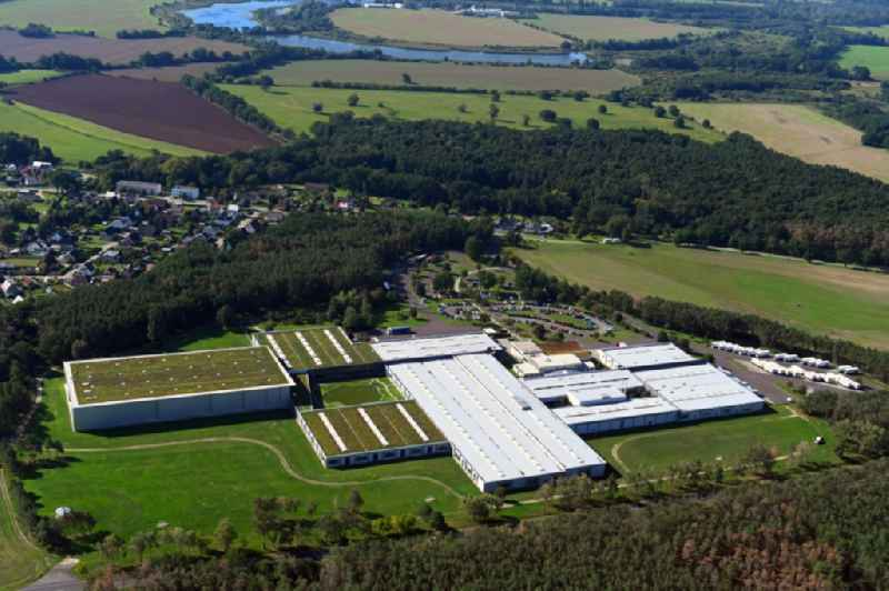 Building complex and grounds of the logistics center of ErnstingA?s Family GmbH&Co.KG in the district Klieken in Coswig (Anhalt) in the state Saxony-Anhalt, Germany