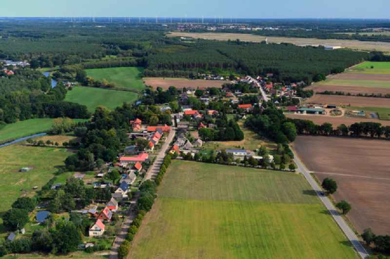 Village view on the edge of agricultural fields and land in Damm in the state Mecklenburg - Western Pomerania, Germany