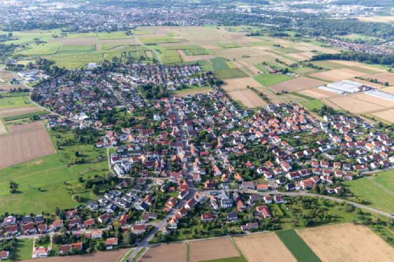 Village view on the edge of agricultural fields and land in Degerschlacht in the state Baden-Wuerttemberg, Germany