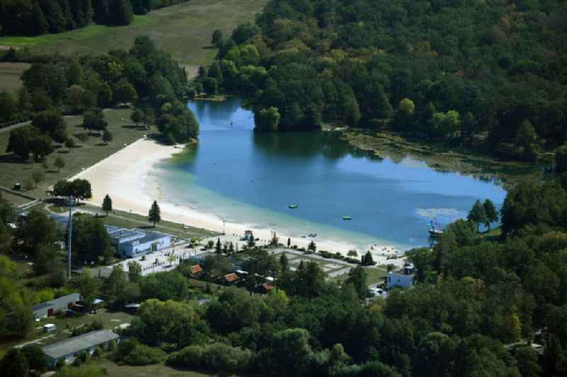 Sandy beach areas on the Waldbad in Dessau in the state Saxony-Anhalt, Germany