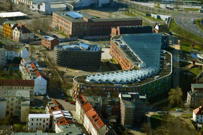Construction site of building of the State Authority UBA Umweltbundesamt Woerlitzer Platz in Dessau in the state Saxony-Anhalt, Germany