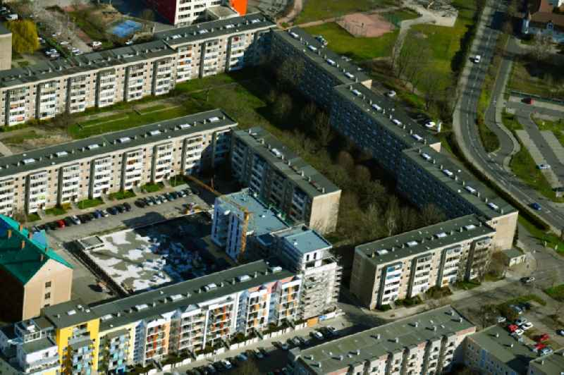 Construction site for the multi-family residential building on Muldstrasse in Dessau in the state Saxony-Anhalt, Germany
