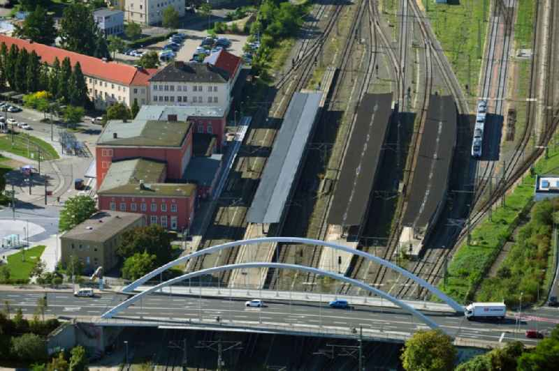 Track progress and building of the main station of the railway in Dessau-Rosslau in the state Saxony-Anhalt