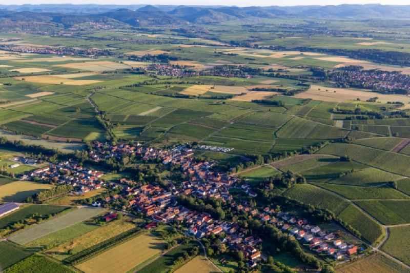 Village - view on the edge of agricultural fields and farmland in Dierbach in the state Rhineland-Palatinate