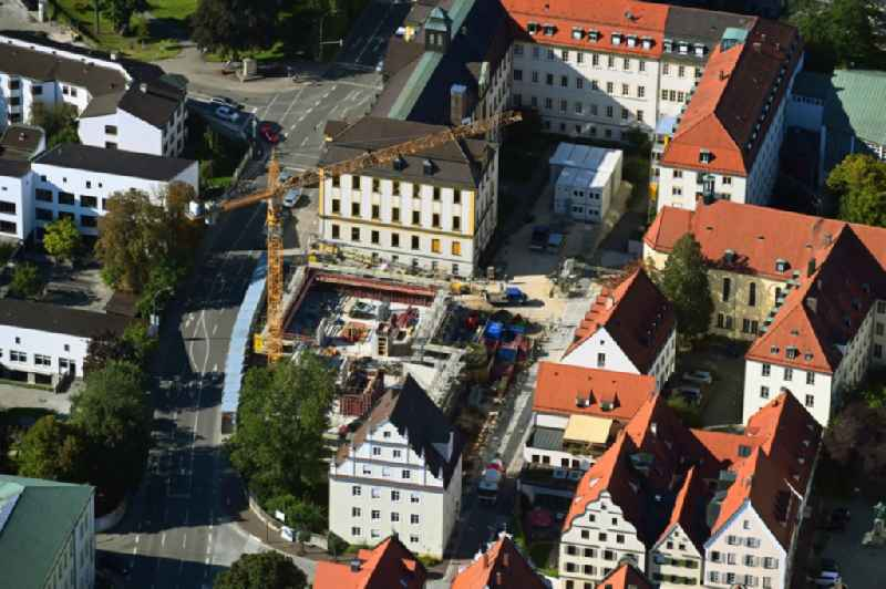 Construction site to build a new office and commercial building on Erzbischof-Stimpfle-Strasse in Dillingen an der Donau in the state Bavaria, Germany