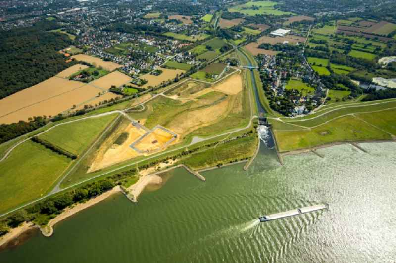 Curved loop of the riparian zones on the course of the river Rhine in Dinslaken in the state North Rhine-Westphalia, Germany.