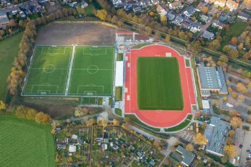 Construction site ensemble of sports grounds in Dinslaken in the state North Rhine-Westphalia