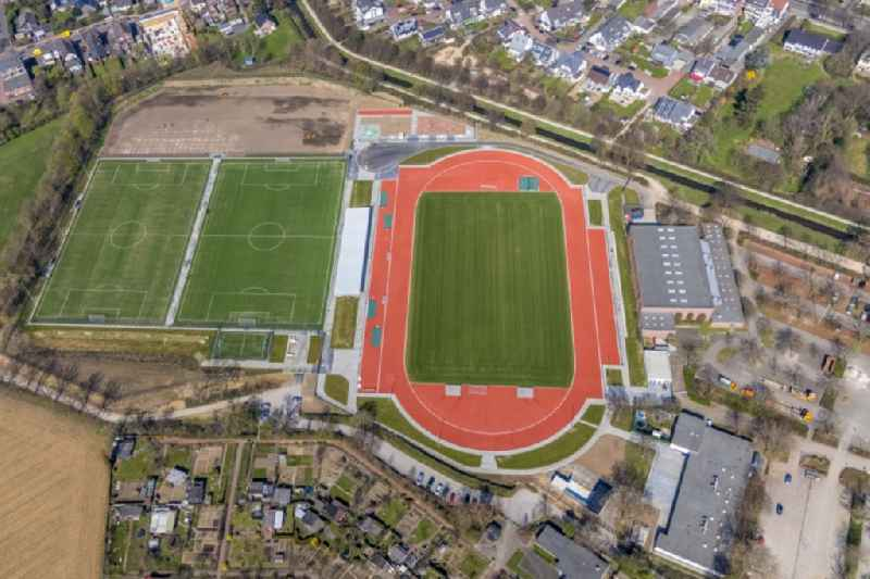 Construction site ensemble of sports grounds in Dinslaken at Ruhrgebiet in the state North Rhine-Westphalia