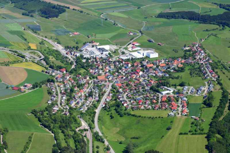 Village view on the edge of agricultural fields and land in Doeggingen in the state Baden-Wuerttemberg, Germany