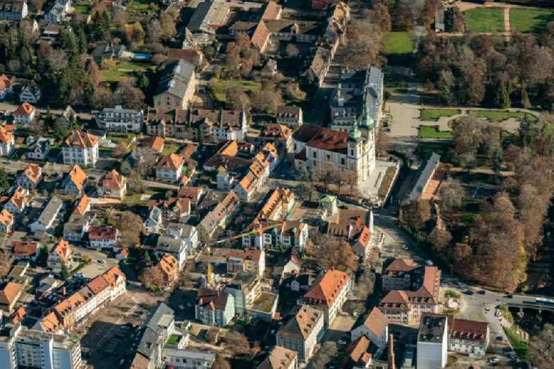 Town View of the streets and houses of the residential areas in Donaueschingen in the state Baden-Wuerttemberg, Germany