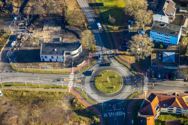 Traffic management of the roundabout road of Halterner Strasse - of Fuerst-Leopold-Allee - Freiligrathstrasse in the district Hervest in Dorsten in the state North Rhine-Westphalia, Germany