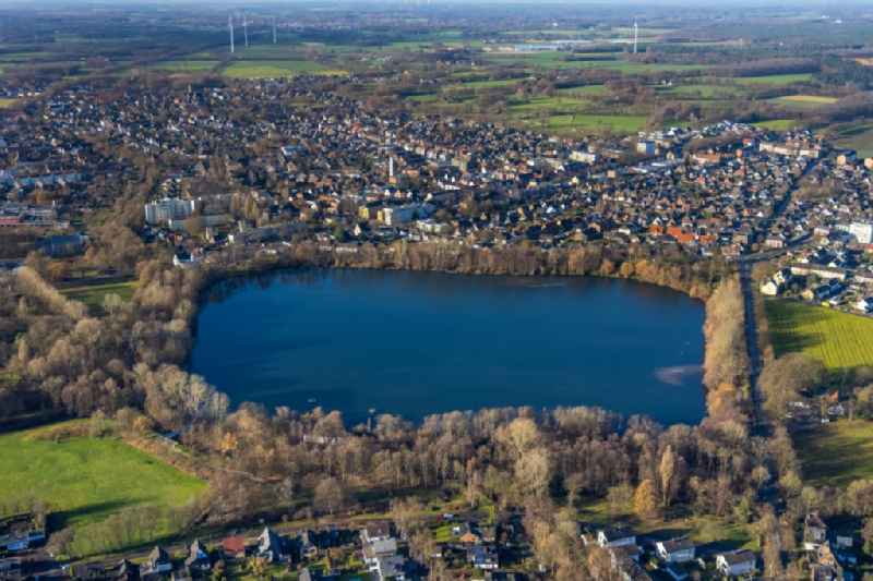 Riparian areas on the lake area of ' Blauer See ' in Dorsten at Ruhrgebiet in the state North Rhine-Westphalia, Germany