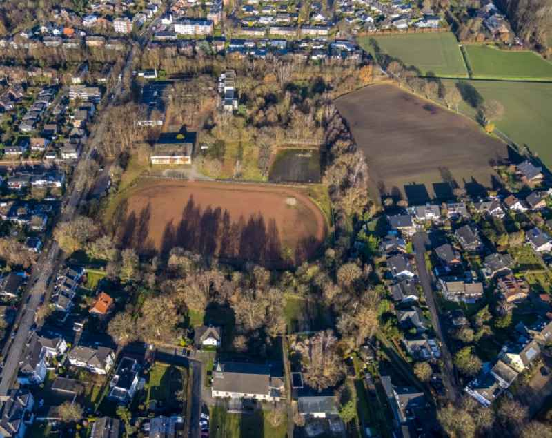 Sports grounds and football pitch on Bismarckstrasse in the district Hervest in Dorsten at Ruhrgebiet in the state North Rhine-Westphalia, Germany