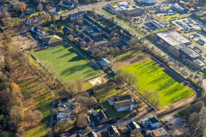 Sports grounds and football pitch of ' Sportverein Dorsten-Hardt ' on Storchsbaumstrasse in the district Hardt in Dorsten in the state North Rhine-Westphalia, Germany