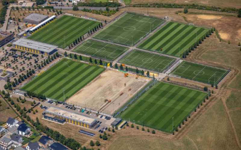 Ensemble of sports grounds of BVB Trainingszentrum on Adi-Preissler-Allee in the district Brackel in Dortmund in the state North Rhine-Westphalia, Germany