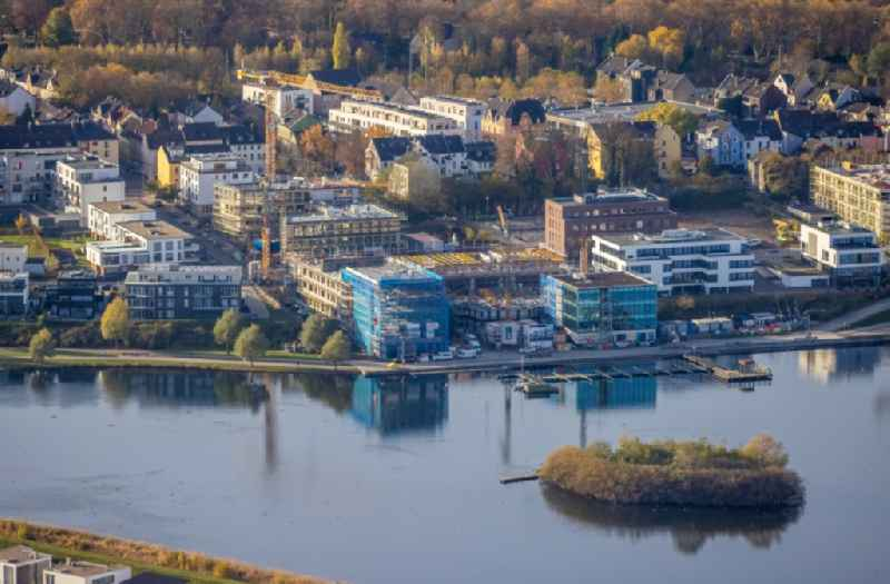 New residential and commercial building Quarter of the project 'SEEyou - Am PHOENIX See' on Phoenixseestrasse - Hans-Tombrock-Strasse in the district Hoerde in Dortmund in the state North Rhine-Westphalia, Germany
