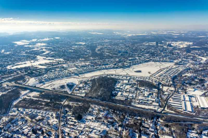 Wintry snowy development area on lake Phoenix See in Dortmund in the state North Rhine-Westphalia