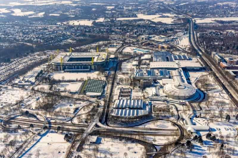 Wintry snowy exhibition grounds and exhibition halls of the Westfalen Halls in Dortmund in the state of North Rhine-Westphalia