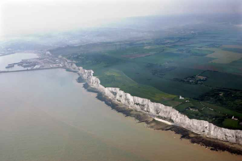 The chalk cliffs at Dover in the county of Kent in England, United Kingdom, forming part of the British coastline here.