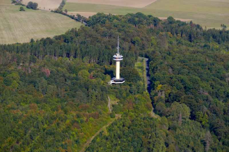 Television Tower ' Gaussturm ' in Dransfeld in the state Lower Saxony, Germany. Further information at: DFMG Deutsche Funkturm GmbH.