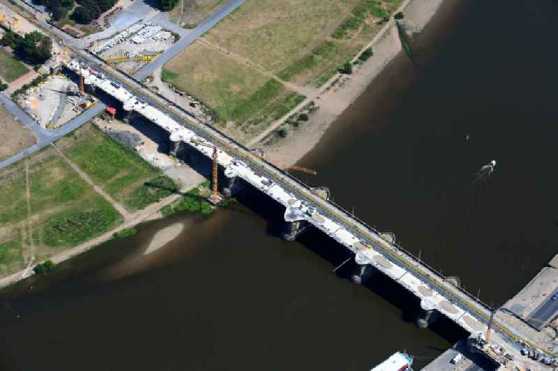 Construction to renovation work on the road bridge structure ' Augustusbruecke ' about the shore of elbe river in Dresden in the state Saxony, Germany