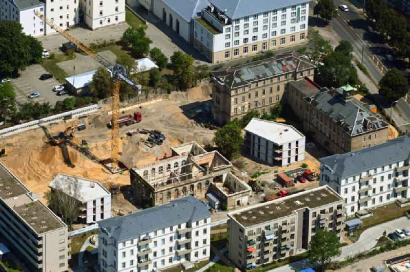 Construction for the reconstruction and expansion of the old buildings listed building ' Ehemalige Arbeitsanstalt ' in of Koenigsbruecker Strasse in the district Albertstadt in Dresden in the state Saxony, Germany