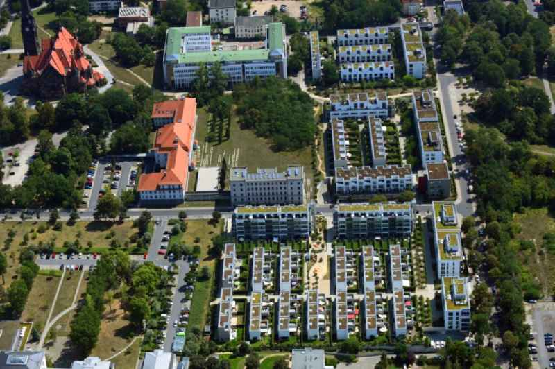Residential area of a multi-family house settlement Wohnanlage ' Wohnen on Alaunpark GmbH ' in of Hans-Oster-Strasse - Tannenstrasse in the district Aeussere Neustadt in Dresden in the state Saxony, Germany