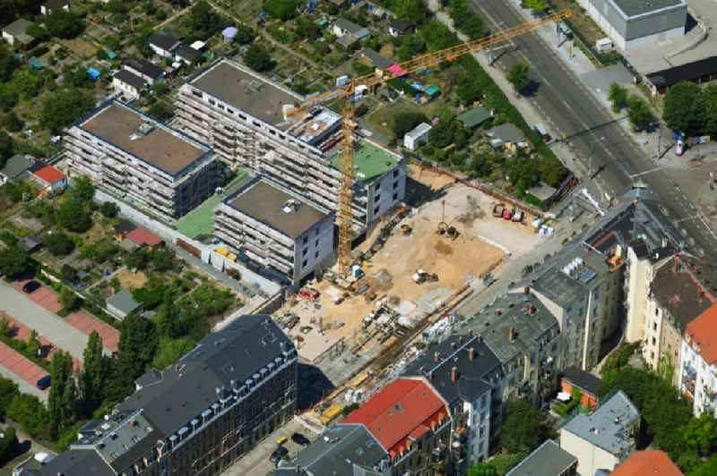 Construction site to build the new multi-family residential complex ' Quartier am Friedenseck ' on Friedensstrasse in Dresden in the state Saxony, Germany