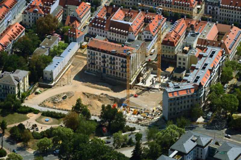Construction site to build a new multi-family residential complex ' Koenigshoefe ' on Theresienstrasse in Dresden in the state Saxony, Germany