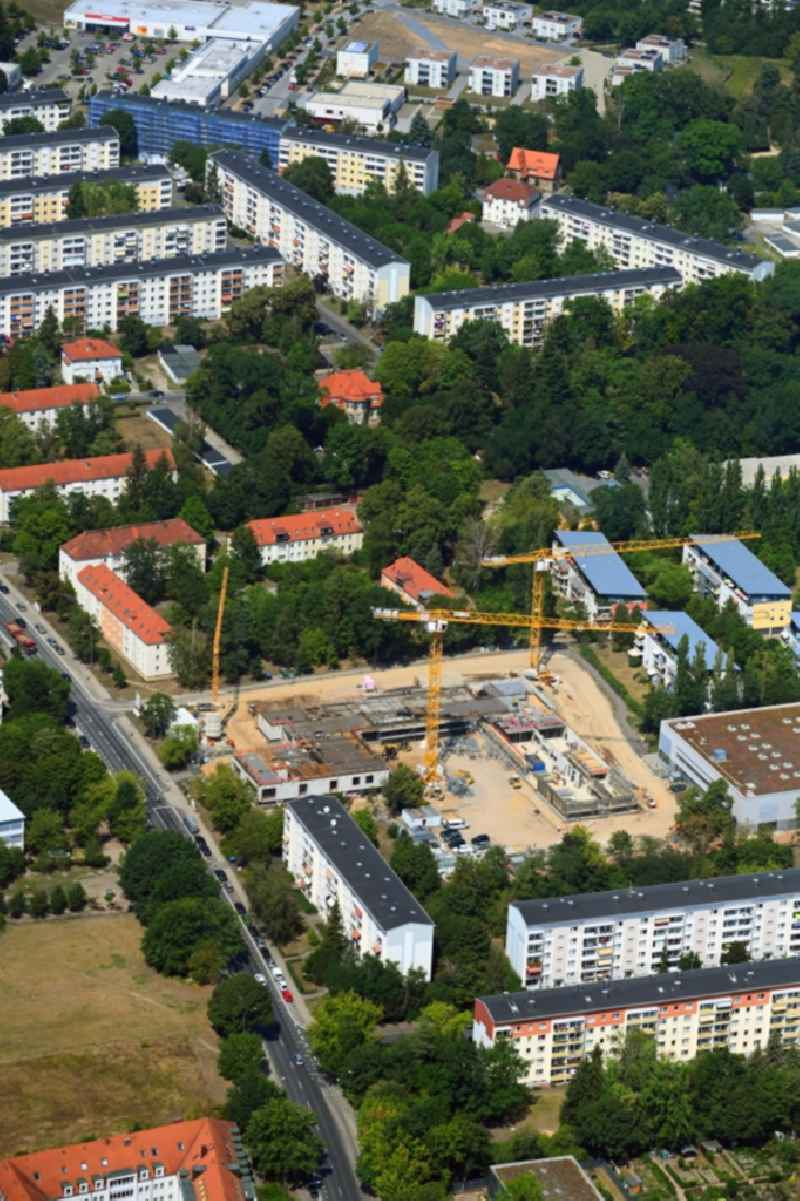 New construction site of the school building on Karl-Marx-Strasse in the district Klotzsche in Dresden in the state Saxony, Germany