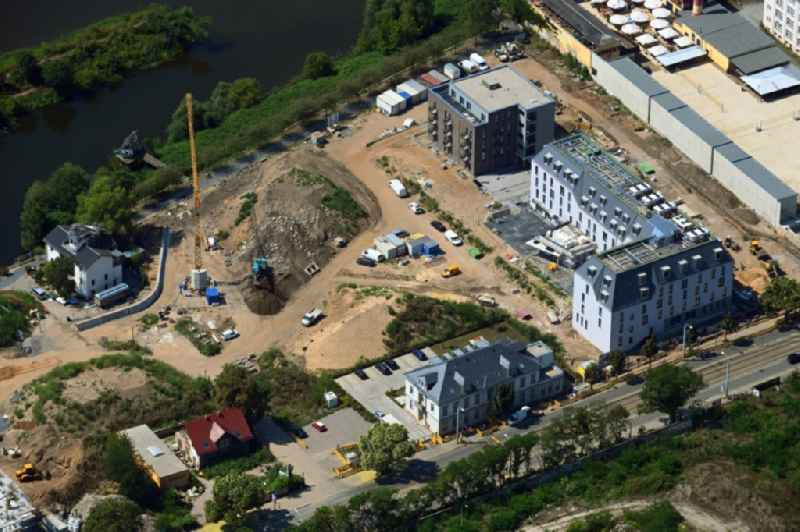 Residential construction site with multi-family housing development- of the project 'Hafencity' along the Leipziger Strasse in Dresden in the state Saxony, Germany