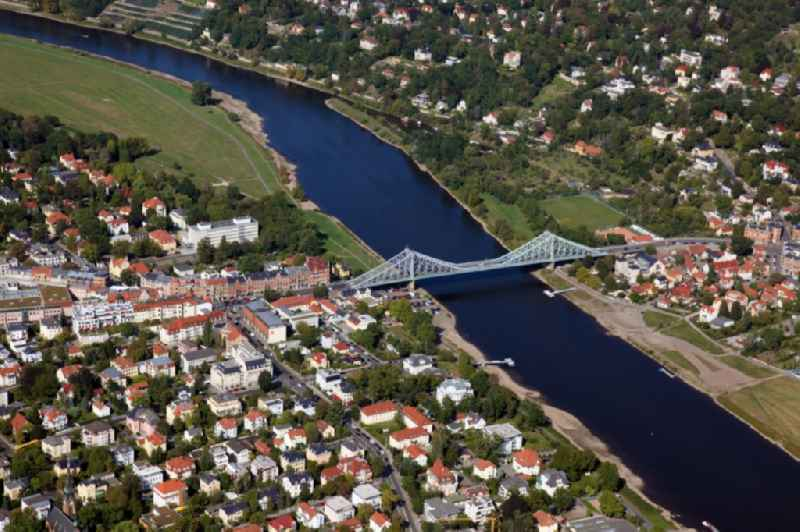 The Loschwitzer bridge called ' Blue Miracle ' over the river Elbe in Dresden in the state Saxony. The bridge connects the districts Blasewitz and Loschwitz and is a well known landmark in Dresden