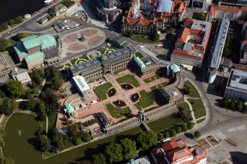 Palace ' Zwinger ' with Gemaeldegalerie Alte Meister and the Kronentor in the district Altstadt in Dresden in the state Saxony, Germany. Above: the Semperoper and the Theaterplatz