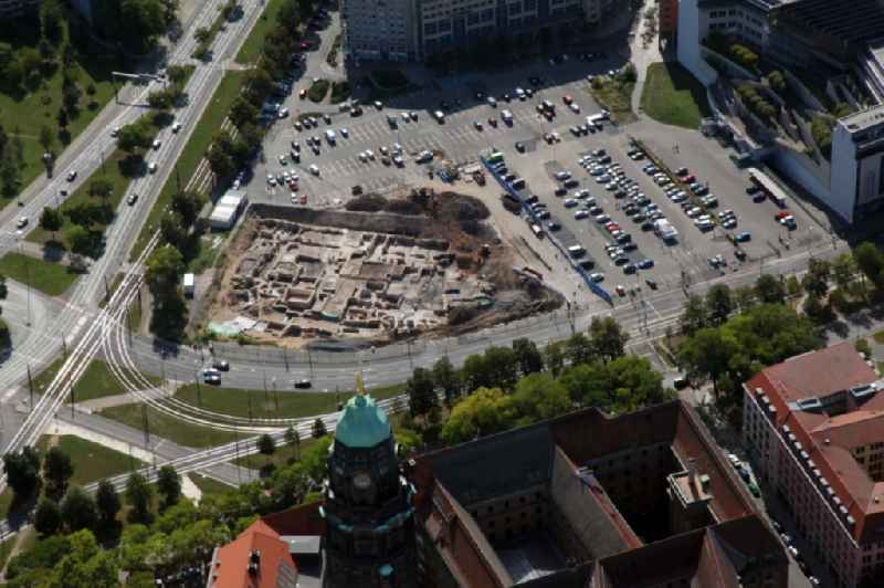 Exposure of archaeological excavation sites on the area of Ferdinandplatz in Dresden in the state Saxony, Germany