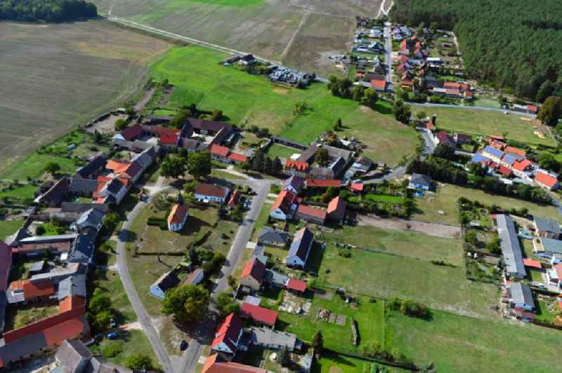 Town View of the streets and houses of the residential areas in Duemde in the state Brandenburg, Germany