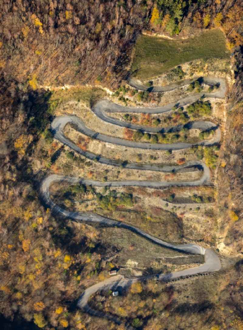 Serpentine-shaped curve of a road guide in Duemmlinghausen in the state North Rhine-Westphalia, Germany.