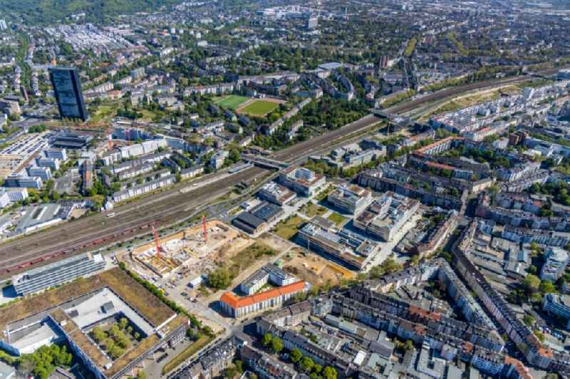 Construction site for the new building on Conpus of ' Hochschule Duesseldorf - Conpus Derendorf between Toulouser Allee and Elfriede-Bial-Strasse in the district Derendorf in Duesseldorf in the state North Rhine-Westphalia, Germany