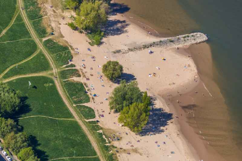 Coastline on the sandy beach of the 'Paradiesstrand' on river course of the Rhein in the district Hafen in Duesseldorf in the state North Rhine-Westphalia, Germany