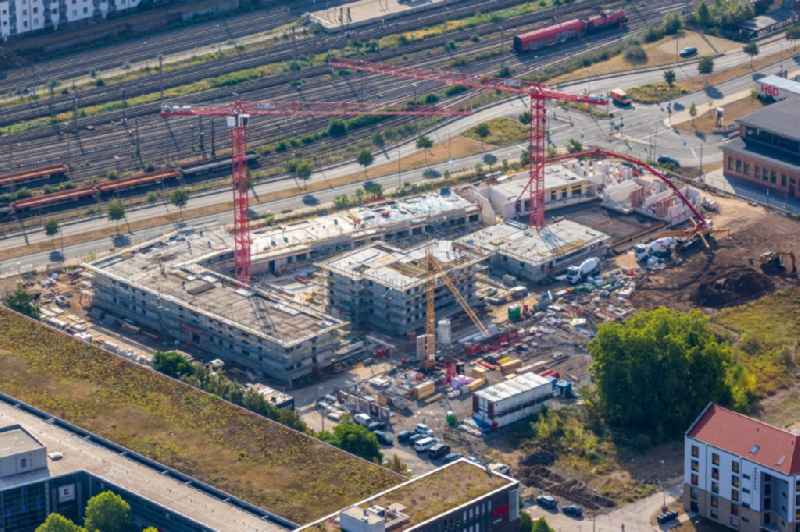 Building site on campus building of Applied Sciences University Duesseldorf - Campus Derendorf on Rather Strasse in the district derendorf in Duesseldorf in North Rhine-Westphalia
