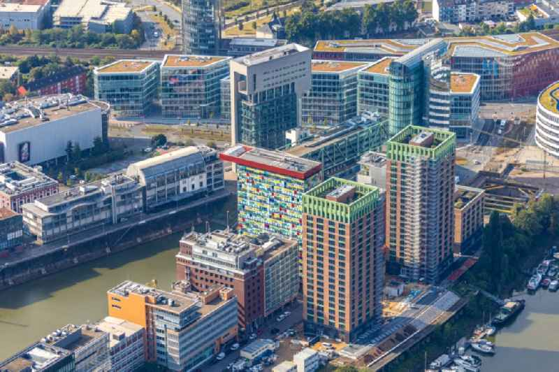 Construction site for new high-rise building complex 'Duesseldorfer Heimathafen' of the project 'WIN WIN' on Speditionstrasse in Duesseldorf in the state North Rhine-Westphalia, Germany