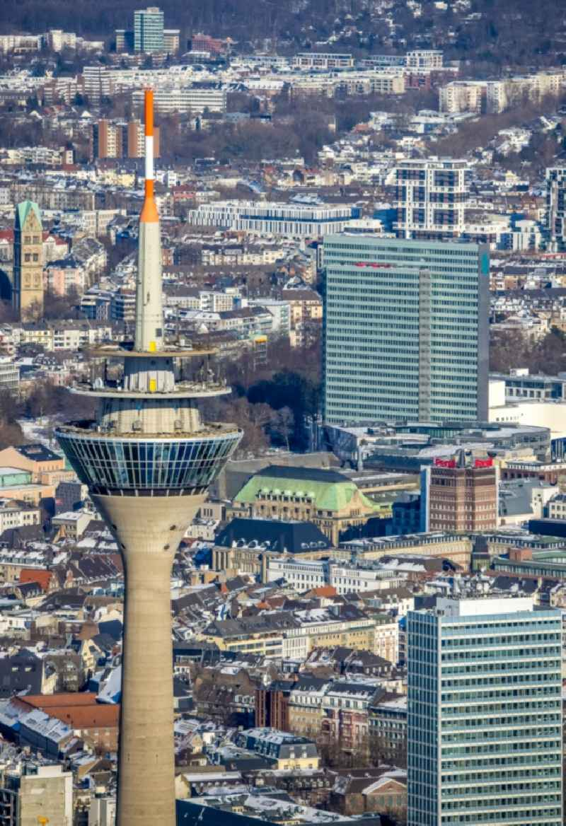 Top of the Television Tower Rheinturm with the city center in the background in Duesseldorf in the state North Rhine-Westphalia