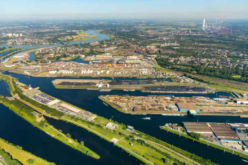 Port facilities on the banks of the river course of the Ruhr in the district Ruhrort in Duisburg in the state North Rhine-Westphalia, Germany