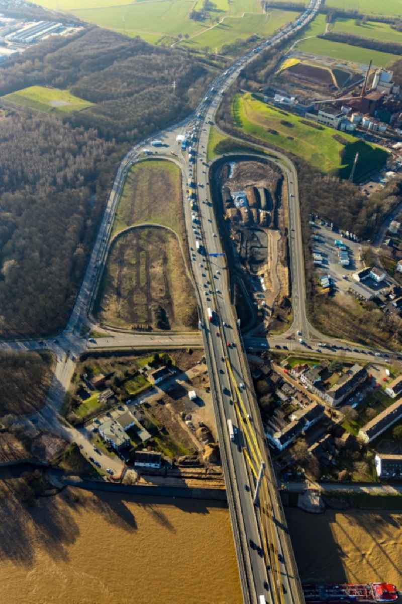 Routing and traffic lanes during the highway exit and access the motorway A 40 auf die Duisburger Strasse in Duisburg in the state North Rhine-Westphalia, Germany.