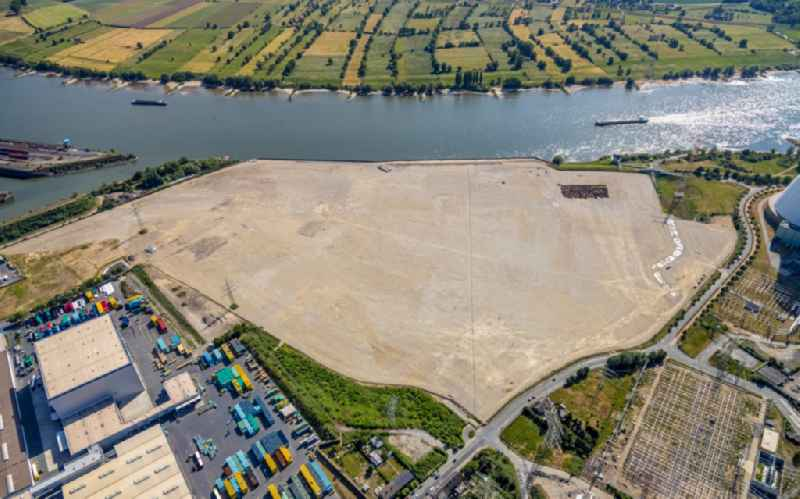 Development area of industrial wasteland ' Logport VI ' on shore of rhine river on destrict Walsum in Duisburg in the state North Rhine-Westphalia, Germany