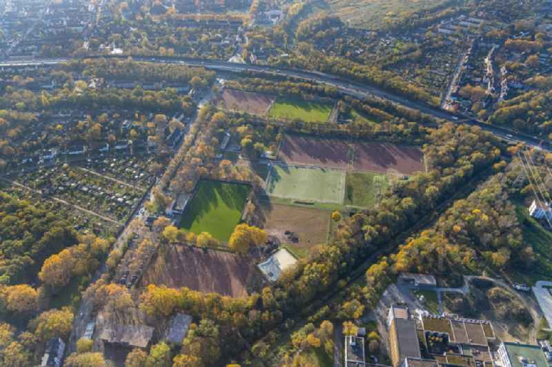 Autumnal discolored vegetation view ensemble of sports grounds on Warbruckstrasse in the district Marxloh in Duisburg in the state North Rhine-Westphalia, Germany