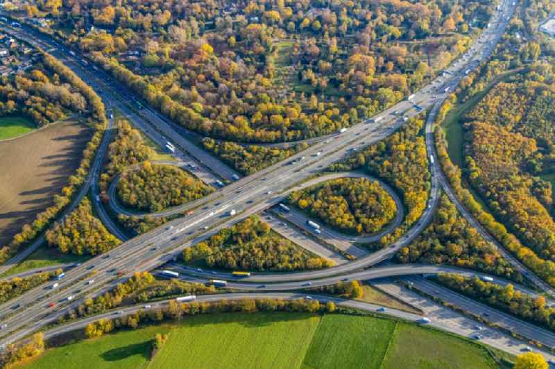 Autumnal discolored vegetation view traffic flow at the intersection- motorway A 3 and A 42 in Duisburg in the state North Rhine-Westphalia, Germany