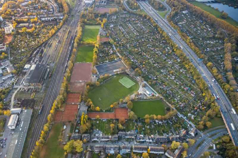 Ensemble of sports grounds on Futterstrasse in the district Duissern in Duisburg in the state North Rhine-Westphalia, Germany