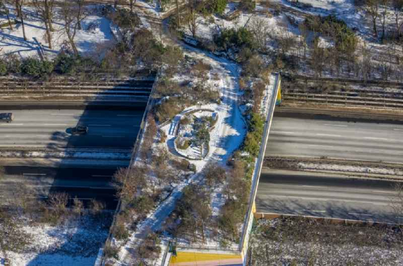 Wintry snowy highway bridge structure applied as a wildlife crossing bridge Wild - Wild swap the BAB A 3 in the district Duissern in Duisburg in the state North Rhine-Westphalia, Germany