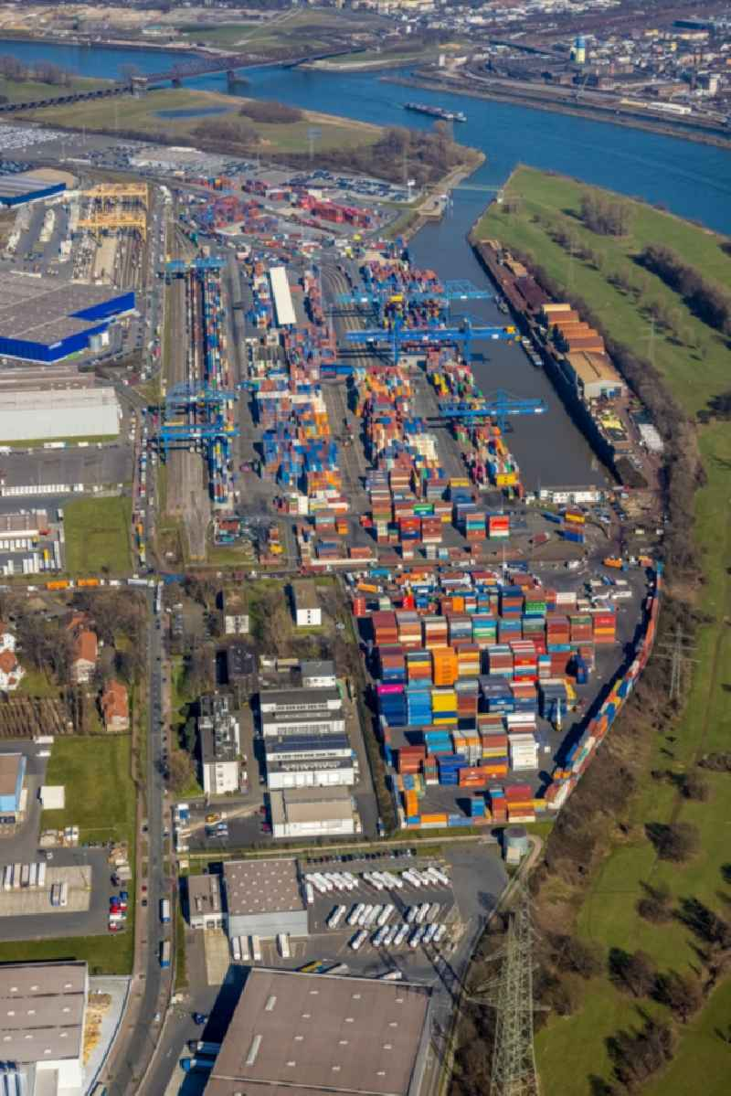 Container Terminal in the port of the inland port of DIT Duisburg Intermodal Terminal GmbH on Gaterweg in Duisburg at Ruhrgebiet in the state North Rhine-Westphalia